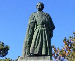 桂浜の坂本龍馬像のアップ写真